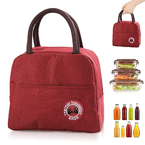 Sac Isotherme Repas, Sac de Transport Repas Lunch Bag Portable Sac Lunch Box Bag à Déjeuner Waterproof, pour Bureau l'école Voyage Camping Repas Préparés (rouge)