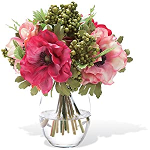 Berry & Anemone Silk Flower Accent - With Faux Acrylic Vase