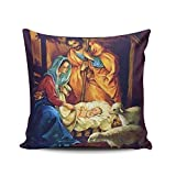 SALLEING Custom Fashion Home Decor Pillowcase Christmas Nativity Baby Jesus in Manger Square Throw Pillow Cover Cushion Case 18x18 Inches One Sided Print