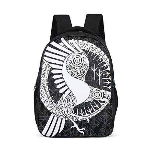 Schulrucksack Wikinger Odin Runen Rabe Schultasche Schulranzen Daypack Rucksack Backpack Kinderrucksack Freizeitrucksack für Jungen Mädchen