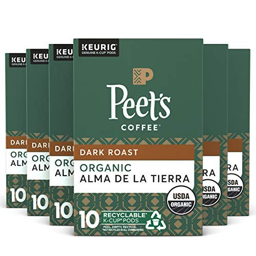 Peet's Coffee Organic Alma De La Tierra K-Cup Coffee Pods for Keurig Brewers, Dark Roast, 60 Pods