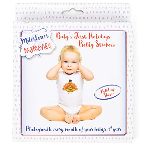 Baby Belly Stickers | First Year Holiday Memory Milestones | Premium Sticker Kit | Share Photos With Family & Friends - Stickers for 12 Yearly Holidays for Boy or Girl