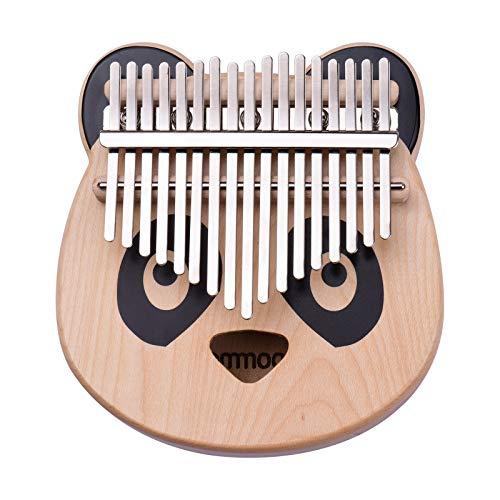 Kalimba, Tragbares Kalimba-Klavier Vom Typ C, mit 17 Tasten, aus Ahornholz, Wasserdichte EVA-Tasche (Cartoon Panda) mit Abwischbaren Symbolaufklebern