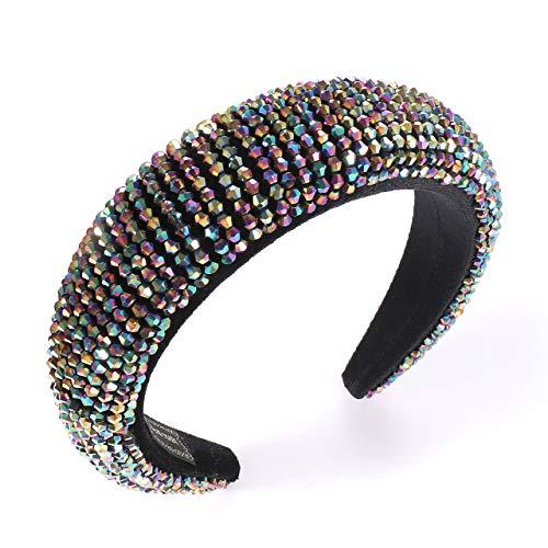 HZEYN Velvet Padded Headband Colorful Crystal Thick Wide Headband (Colorful Crystal)