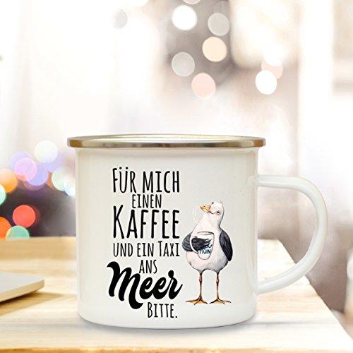 ilka parey wandtattoo-welt Emaille Becher Camping Tasse maritim Möwe & Spruch Motto Kaffee und EIN Taxi ans Meer Bitte Kaffeetasse Geschenk eb117