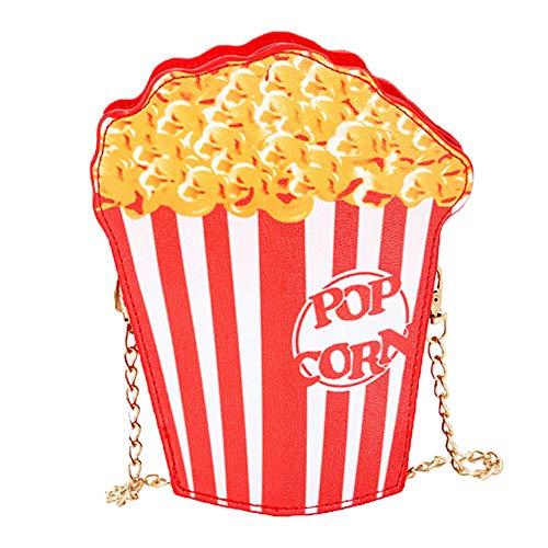 Setsail Hamburger Pommes frites Popcorn niedliche Cartoonein-Schulter-Diagonalkettenkleine Tasche Damen Mädchen Nette Popcorn Kuriertaschen Handtaschen Beutel Beutel PU-Leder (Popcorn)