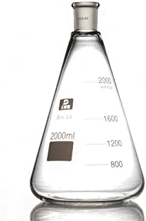 2000ml Mouth Erlenmeyer Flask, Glass Erlenmeyer Flask,2 Litre,Conical Bottle with Normal Neck,24/40,Pro