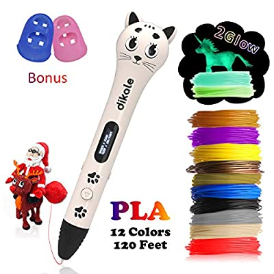 dikale 3D Pen for Kids with PLA Filament Refills 20 Feet, Kitten Shaped Design 3D Printing Pen Gift, Provide Drawing Stencils eBooks (White)