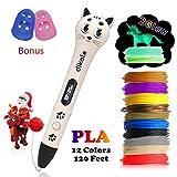 dikale 3D Stift Set für Kinder mit PLA 12 Farben für Kritzelei, Basteln, Zeichnung, Kunstwerk, einzigartige Geburtstags Kinder und Erwachsene