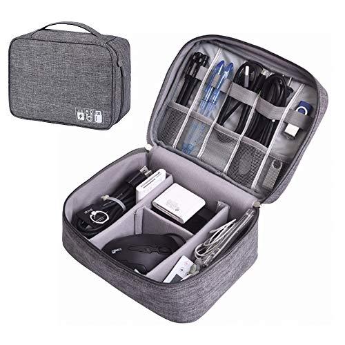 PRXD Travel Cable Organiser Tas, Elektronica Accessoires Organizer Tas, Universele Draagbare Reizen Gadget Tas voor Kabels, Power Bank, USB Drive, Oplader Harde Schijf, Geheugenkaart, Hoofdtelefoon & iPad Mini, 24x19x10cm, Grijs