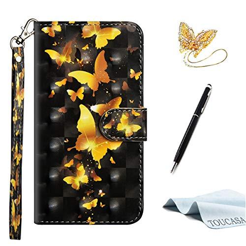 TOUCASA S8 Handyhülle,S8 Hülle, Brieftasche flip PU Leder etui Tasche 360 Grad Karte Halterung Kartenfächer extra Dünn Klapphülle 3D Oberfläche Ultra Glatte Berührung fürSamsung S8(Schmetterling)