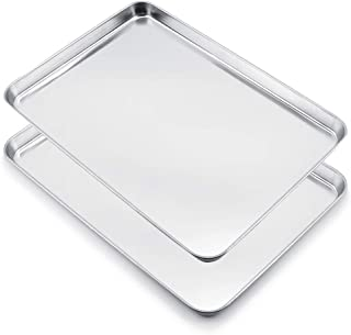 WEZVIX Large Baking Sheet Set of 2 Stainless Steel Cookie Sheet Half Sheet Oven Tray Baking Pan Rectangle Size:19.6 × 13.5 × 1.2 inches