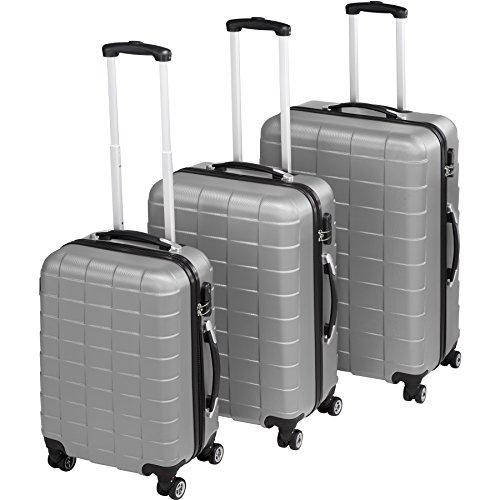 TecTake Set 3 Piezas Maletas ABS Juego de Maletas de Viaje Trolley Maleta Dura | 4 Ruedas de 360º | 2 Mangos y un asa telescópica (Plata | no. 402672)
