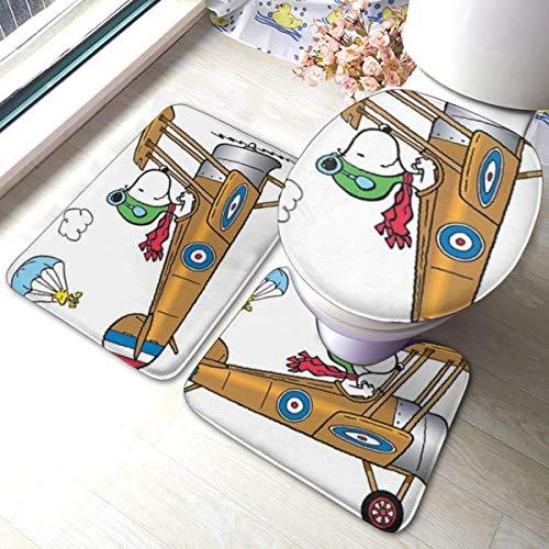 LUCKY Home Snoopy Flying Ace Badezimmer Antirutschschutz Pad Astronaut Snoopy Toilettenbezug Matte rutschfeste Bodenmatte Teppich Badezimmer 3 Sätze