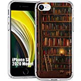 Clear Flex Gel Phone Case for Apple iPhone SE 2020, iPhone 8, 7, 6S,Library Books Print,Light Weight, Unbreakable, Flexible, Surround Edge Protection,Designed in USA