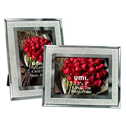 Amazon Brand - Umi Glitzernder Bilderrahmen aus Glas 9x13cm, 2er Set