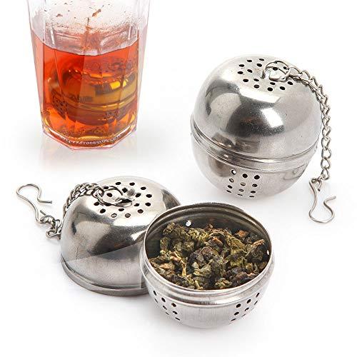 YUEMING 2 Pezzi Filtro per Il tè, Acciaio Inox Colino da tè a Sfera, Infusore a Sfera da tè con Gancio a Catena, Infusore tè Filtro per Foglie di tè e Spezie e Condimenti