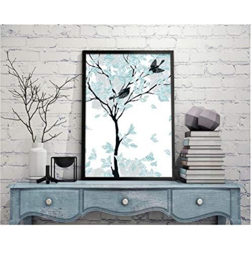 Jwqing Scandinavische stijl mintgroen abstracte boom decoratief schilderij foto wandkunst canvas schilderij voor de woonkamer (60x80 cm geen vormgeving)