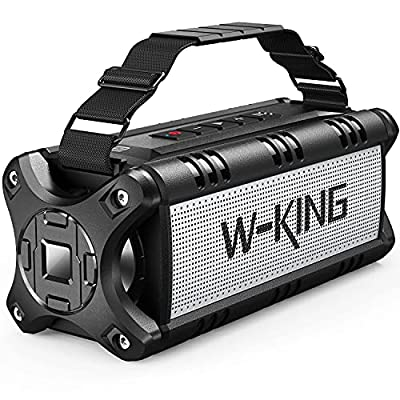 Portable Bluetooth Speakers, W-KING 50W Bluetooth Speaker Loud, IPX6 Waterproof Outdoor Speaker with 8000mAh Power Bank, Wireless Bass Speaker Bluetooth 5.0 with 24H Playtime/TF Card/AUX/NFC from Shenzhen Weiking Technology Coltd