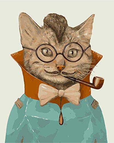 Fuumuui DIY Malen Nach Zahlen-Vorgedruckt Leinwand-Ölgemälde Geschenk für Erwachsene Kinder Kits Home Haus Dekor - Mr Cat 40*50 cm