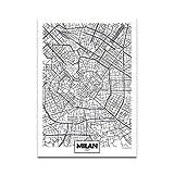 Schwarz Weiß Wort Poster Stadtplan Mailand Druck Leinwand