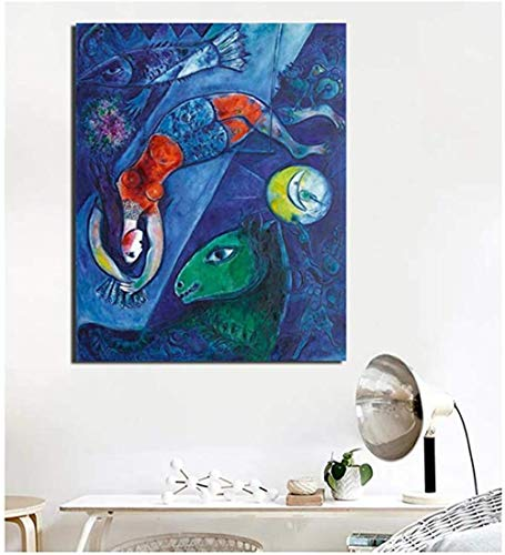 MKAN Marc Chagall Der Blaue Zirkus Leinwand Malerei, Poster Drucke Wandkunst Gemälde Bild, Home Decoration-50X70Cm