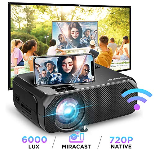 Wi-Fi Mini Projector, Bomaker Portable Projector for Outdoor Movies, 6000 Lux, Full HD 1080P Supported Outdoor Movie Projector, Wireless Screen Mirroring, for iOS /Android /Laptops / PCs/ Windows