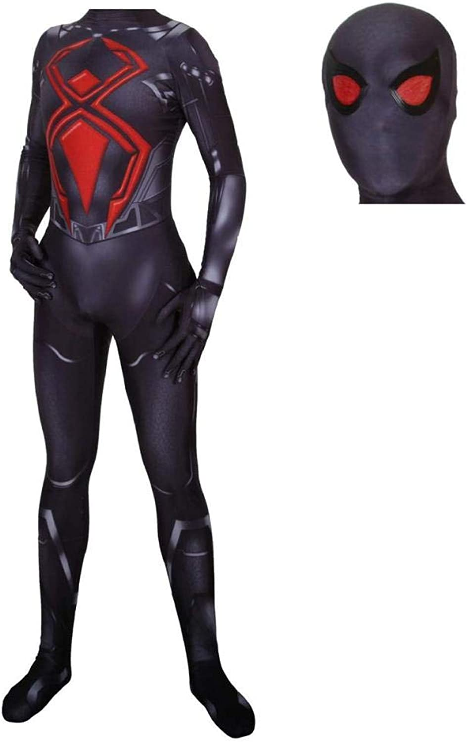 LCRBT Spiderman Cosplay Costume Suit Fancy Dress Costume Role Play Clothing Bodysuit,XXLarge Black