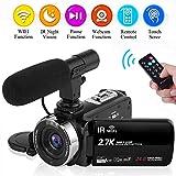 Caméscope Camescope 2.7K 30FPS WiFi Caméra de Vision Nocturne avec Microphone Externe Camescope...