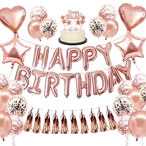 Yidaxing Oro Rosa Compleanno Decorazioni per Feste, 50 Palloncini Compleanno Nappe Scintillanti, Banner di Buon Compleanno, Palloncini con Coriandoli, Decorazioni Uniche per Compleanno(Rose Gold)