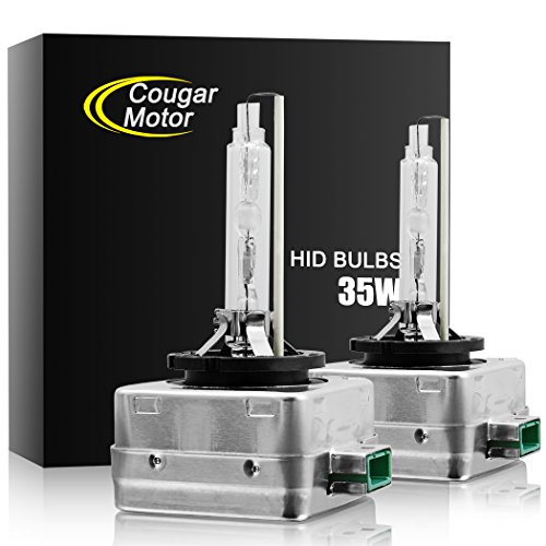 Cougar Motor D3S HID Bulbs, Upgraded Xenon Headlight Replacement Bulb 35W 6000K (Pack of 2 bulbs)