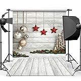 AIIKES 5x7FT Fondo de fotografía de Navidad Decoración de árbol de Navidad Copos de Nieve Fondo de Pared de Piso de Madera Fondo de decoración de Fiesta de Navidad Fondo de Estudio 10-383