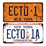 Ghostbusters 1 & 2 Prop License Plate Combo, ECTO-1 + ECTO-1A, Stamped License Plates Memorabilia, Embossed Replica, Movie Prop Metal Stamped Vanity Number Tags, 12x6 Inch