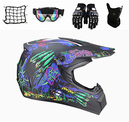 Motocross Helm Kinder,Fullface MTB Helm Pocket Bike Helm Motorradhelm Set Motocross...