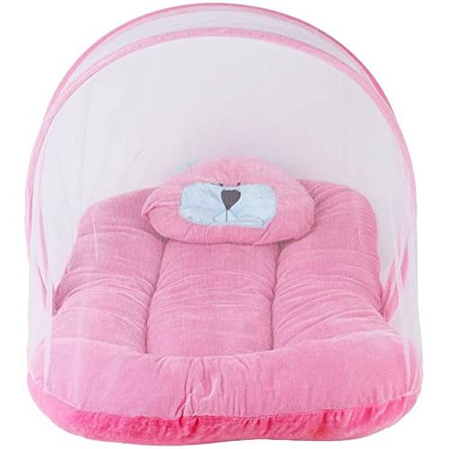 Chinmay Kids Cotton Velvet Bedding Set with Foldable Mattress, Mosquito Net & Pillow Mosquito Net-Pink