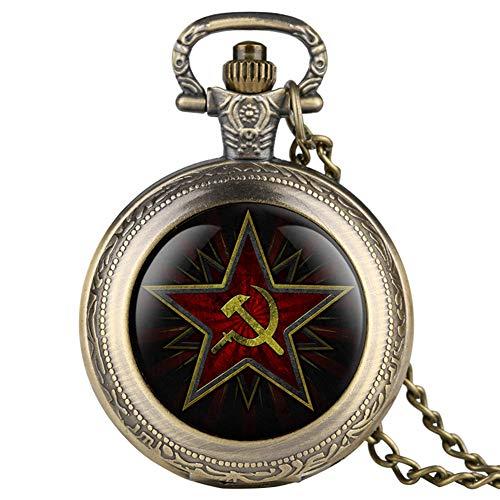 Pentagram Party Emblem UDSSR Sowjetische Abzeichen Hammer Sichel Schwarz Quarz Taschenuhr Russische Armee CCCP Kommunismus Uhr Unisex, Retro Bronze