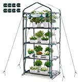 Greenhouse 4 Tier Mini Greenhouse 63x28x20 in Portable Garden Green House, with Zippered PVC Cover, Metal Shelves for Garden Yard Patio Indoor Outdoor, Extra Hooks Wind Ropes 8 Net Rack Buckles