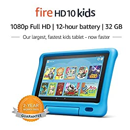 Save up to $99 on a full-featured Fire HD 10 tablet (not a toy), 1 year of Amazon Kids+ (FreeTime Unlimited), a Kid-Proof Case with built-in stand, and 2-year worry-free guarantee ─ versus items purchased separately. 2-year worry-free guarantee: if i...