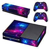 UUShop Protective Vinyl Skin Decal Cover for Microsoft Xbox One Console wrap Sticker Skins with Two Free Wireless Controller Decals Purple Starry Sky(NOT for One S or X)