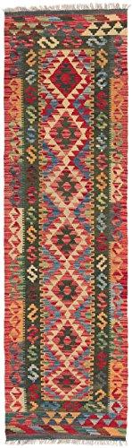 CarpetFine: Tappeto Kilim Afghan - 59x202 cm Multicolor - Tessuto a Mano - Geometrico