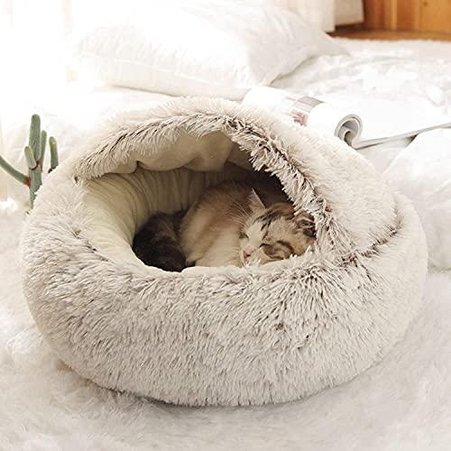 猫ハウス 猫用ベッド ドーム型 ペットベッド 猫の家 ペット用寝袋 柔らかい 寝床 丸洗い 冬用 ペットクッション ペットマット 冬 猫 ねこ おしゃれ シンプル 通年利用 ペットハウス 可愛い インテリア (S-50cm,B-Coffee)