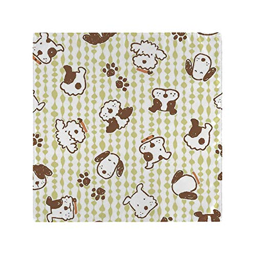 AmaUncle Decorative Napkins, Modern Pattern with Puppy Dogs and Paws Doodle Style Print Home Square Printed Party & Dinner Napkin, 20' x 20', Multicolor Set of 4 NO-95864