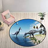 Kids Rugs for Bedroom Girls 5 ft Round - Jurassic Decor DIY Carpet Large Fish is Caught by a Suchomimus Dinosaur Flying Pterosaur Dinosaur,