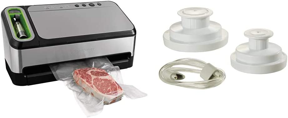 FoodSaver V4840 2-in-1 Vacuum Sealer Machine with Automatic Bag Detection and Starter Kit | Silver & Regular Sealer and Accessory Hose Wide-Mouth Jar Kit, 9.00 x 6.00 x 4.90 Inches, White