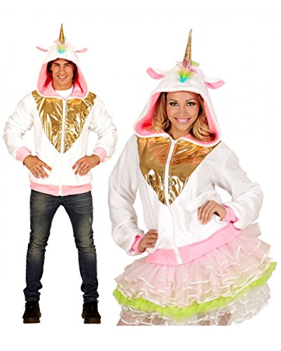 Horror-Shop Weiße Einhorn Jacke mit goldglänzendem Einhorn auf der Kapuze S/M