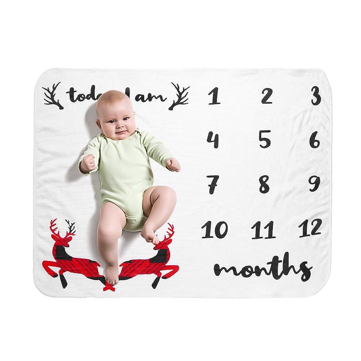 勝者仲間、同僚お尻Tickas赤ちゃん毎月のマイルストーンブランケットクリスマストナカイスタイルソフトフランネルブランケット写真画像小道具背景クリスマスギフト41 * 28inしわができません新生児幼児幼児