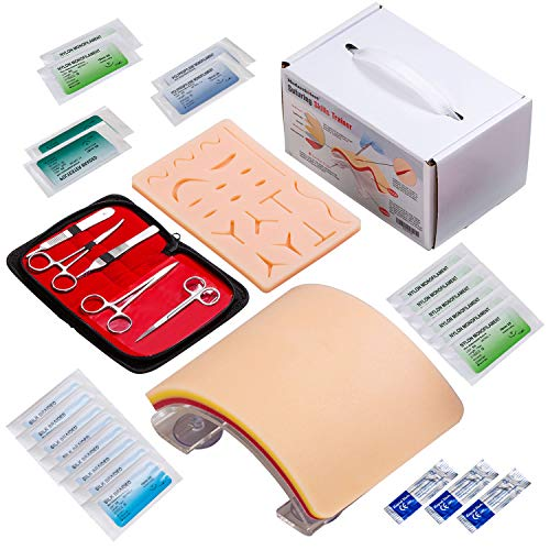 Premium Suturing Skill Trainer Including DIY Incision Suture Pad with Hook&Loop Replacement Design, 19 Pre-Cut Wounds Pad & Complete Tools for Advanced Suture Skill Practice Educational Use Only