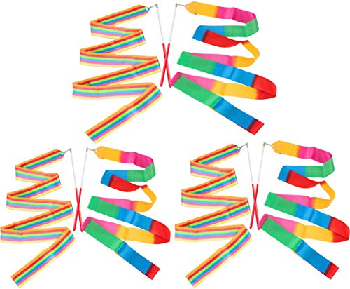 BOBOZHONG Gymnastikband Stäbe,6Pack Tanzbänder,Regenbogen Luftschlangen Rhythmische Gymnastik Band,Tanzen Streamer,für Kinder Artistic Dancing Gym Circus Training (2 Meter)