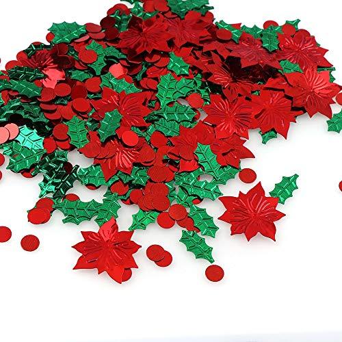 ZXF Regalo Rojo de la Flor Verde de la Hoja 15 g Color de la Mezcla de Navidad de plástico Confeti de Papel de...