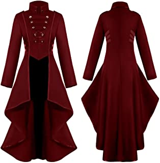 Funnygals - Woman's Steampunk Vintage Tailcoat Jacket Gothic Victorian Frock Coat Uniform Halloween Costume